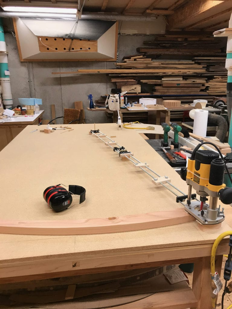 woodworking class, router jig, cutting curves