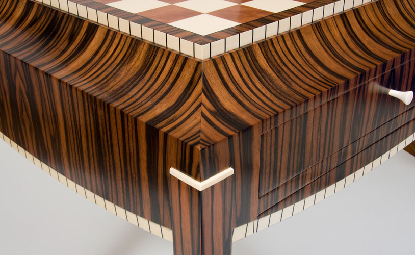 design techniques, veneer, detailed table, woodworking, learn woodworking, learn to veneer, art deco