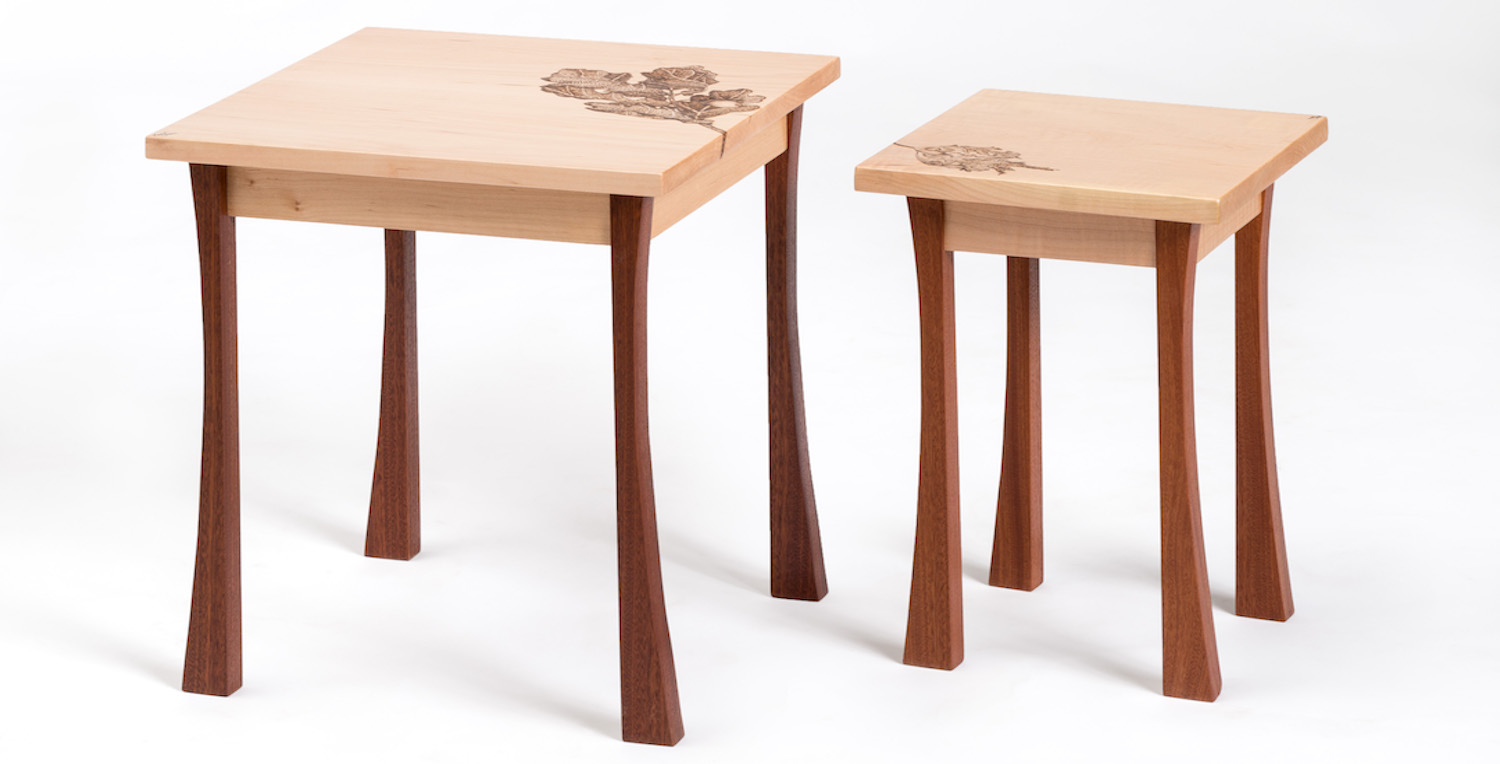 Set of two wooden tables made during a week-long woodwork course
